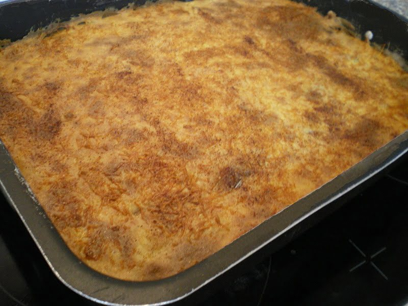 Bechamel on top of moussakas baked image