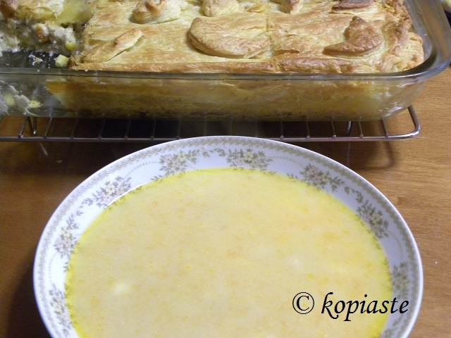 Chick pie and trahanas soup