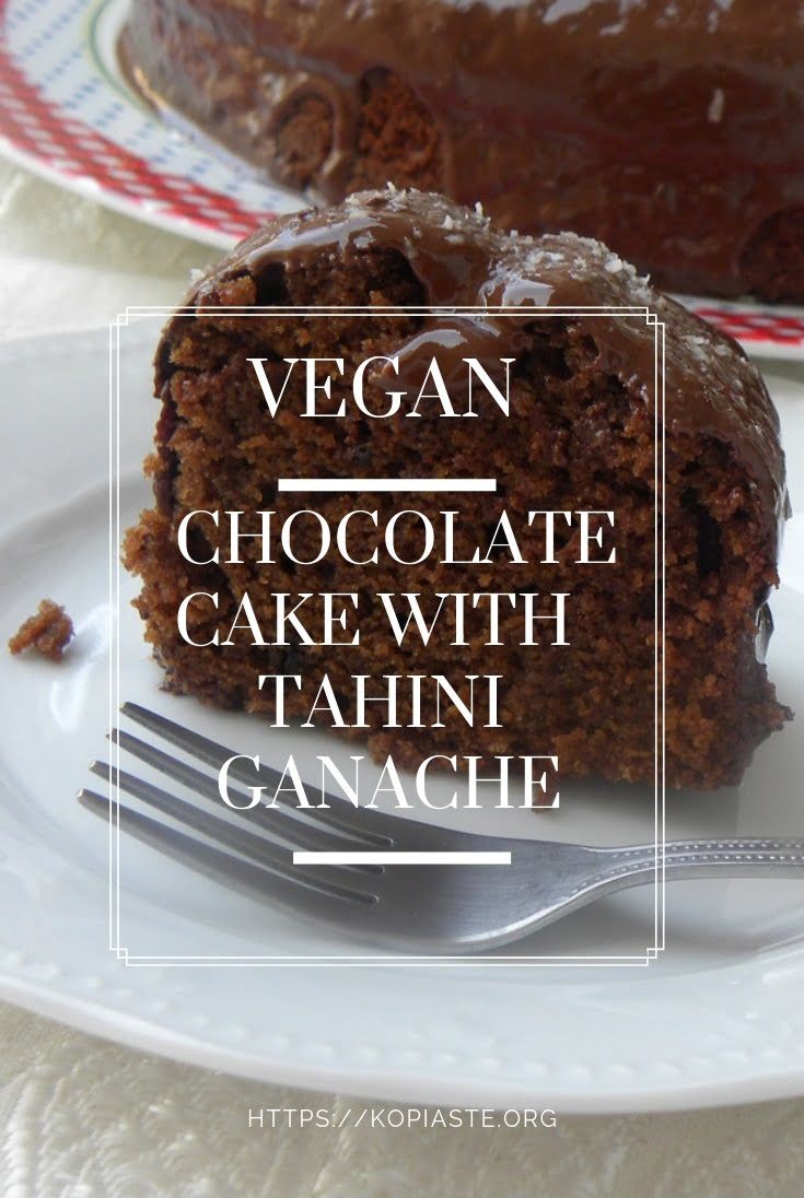 Collage Vegan Chocolate Cake with Tahini Ganache image