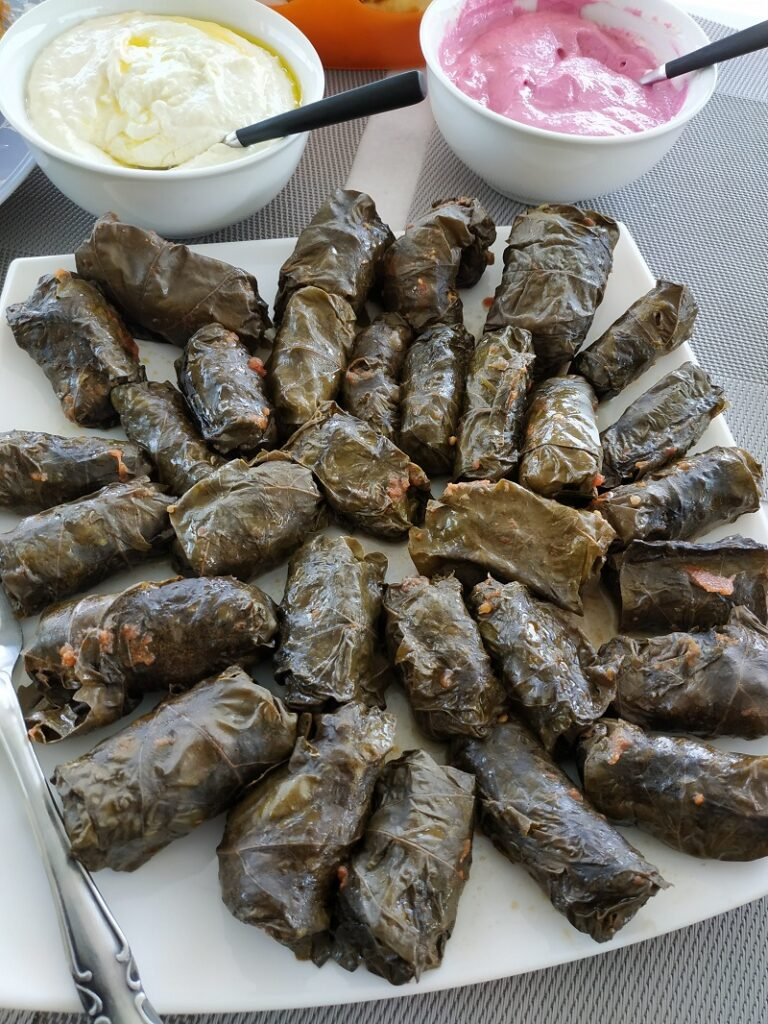 Cypriot stuffed dolmades with vine leaves image.