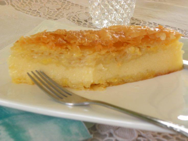 Galaktoboureko (Greek semolina Pudding wrapped in phyllo)