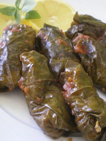 Koupepia me Ampelofylla (Cypriot Stuffed Grape Leaves)