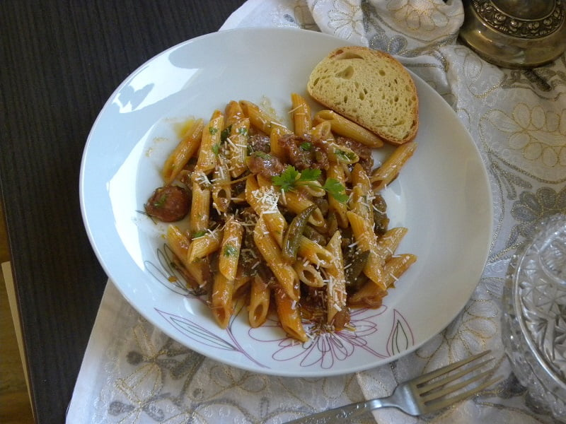 Penne with Sausage and Okra image