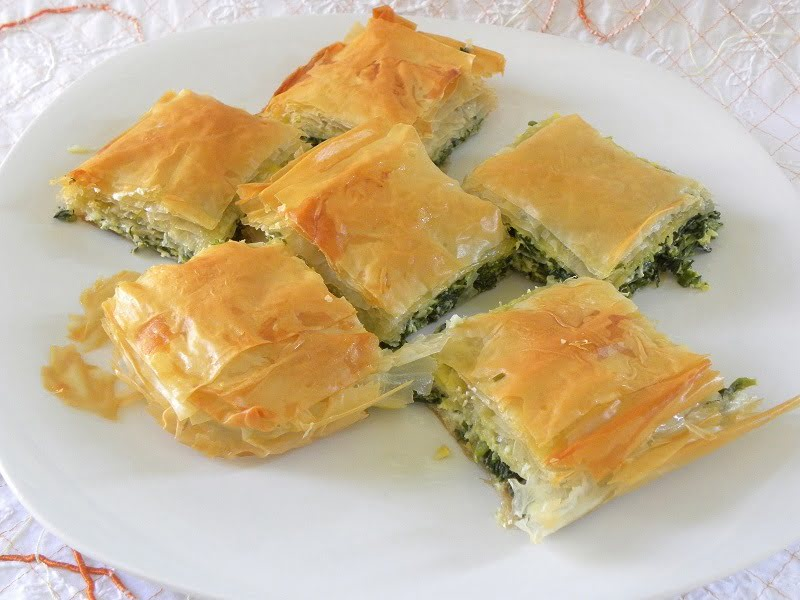 Spanakopita and Spanakopitakia with store bought phyllo