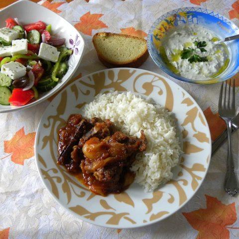 Kouneli Stiffado (Rabbit stew) or Moschari Stiffado (Veal or Beef)