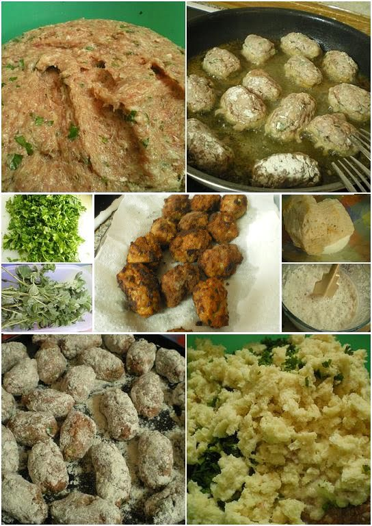collage keftedes meatballs image