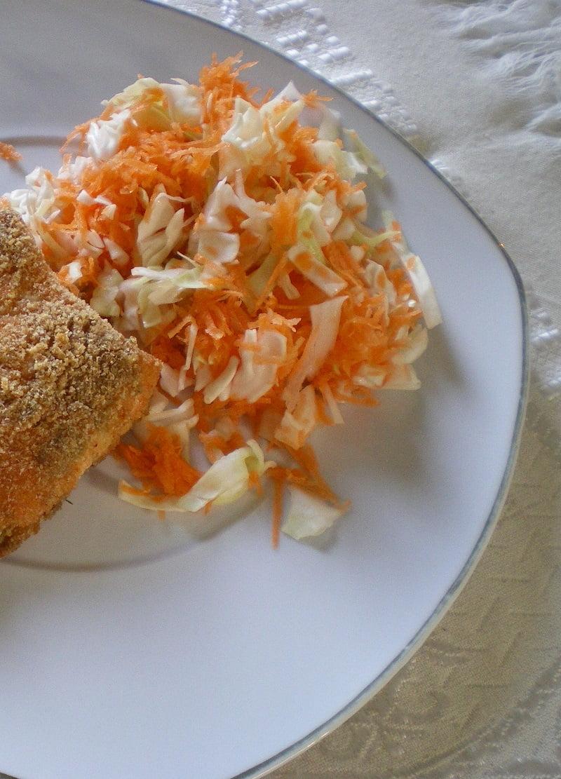 lahano karoto salad with salmon image