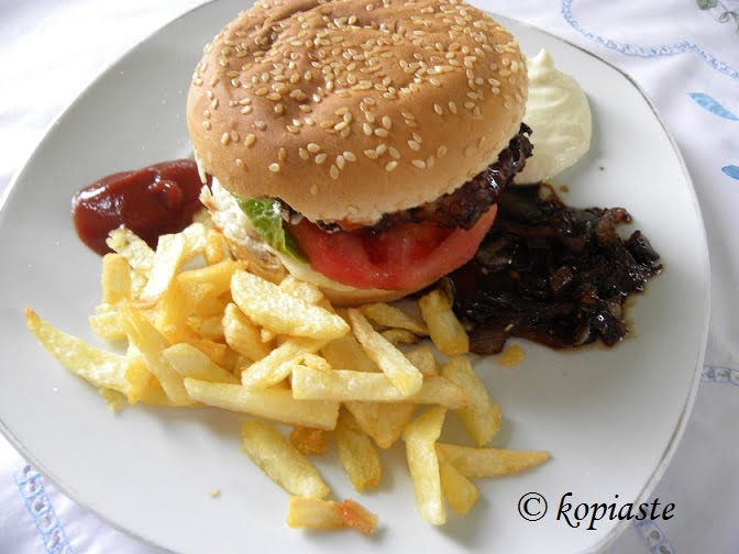 burger with fried potatoes image