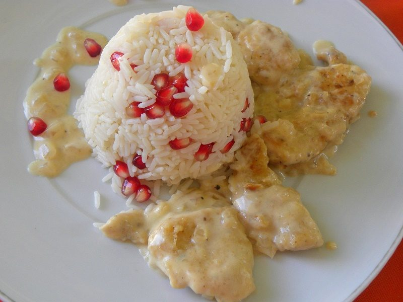 rice pilaf with pomegrnate and chicken image