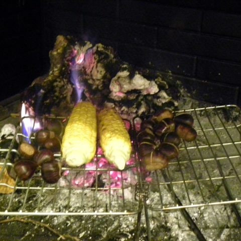 roasting chestnuts and corn on the cob image