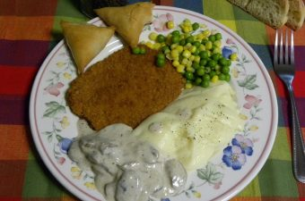 Chicken schnitzel and mushroom sauce image