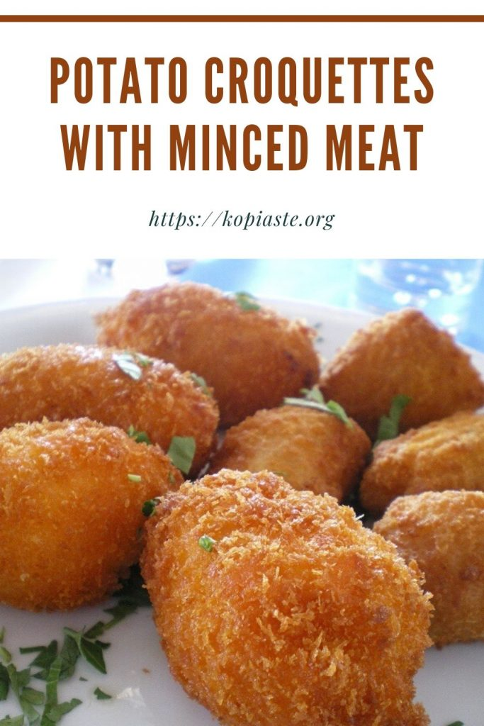 Collage potato croquettes with minced meat image