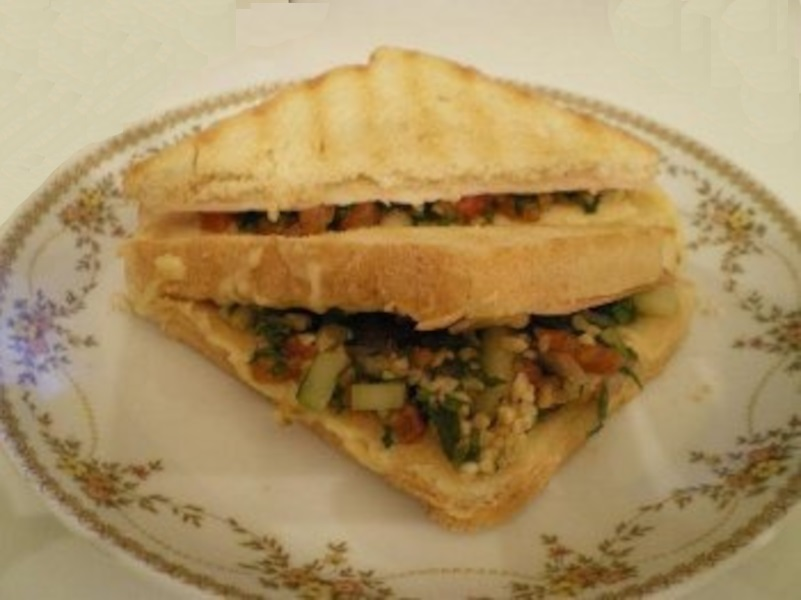 Toasted sandwich with tabouli image