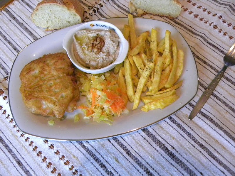 Battered cod with skordalia image
