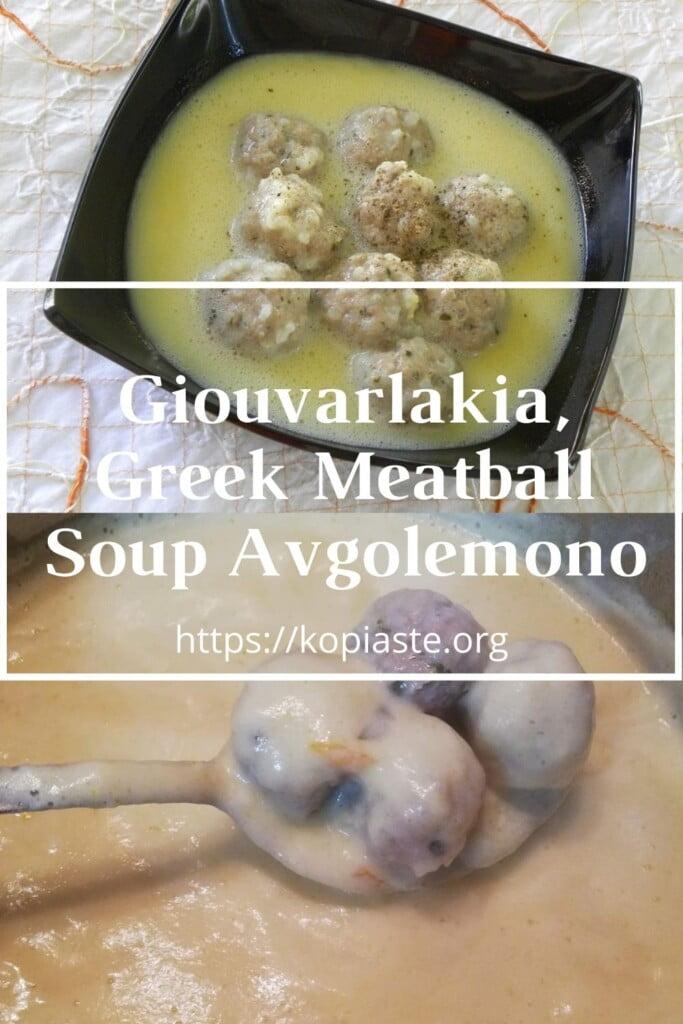 Collage Giouvarlakia Greek Meatball Soup Avgolemono image