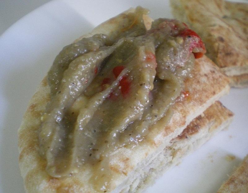 Melitzanosalata on pita bread image