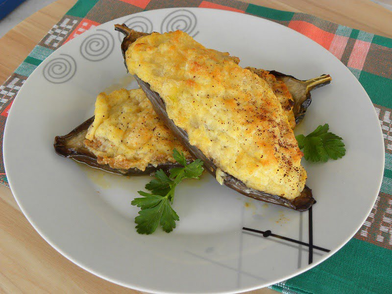 Papoutsakia with bechamel in a plate image