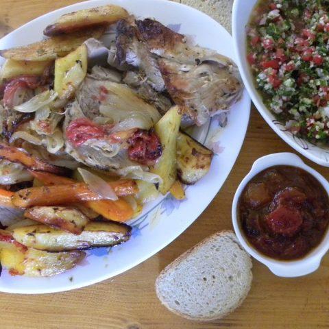 Pstio with tambouli tabbouleh and tomato chutney image
