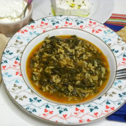 Spanakoryzo spinach with feta and Greek yoghurt image