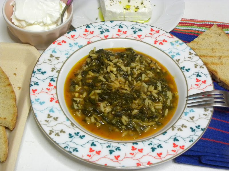Spanakoryzo spinach with rice image
