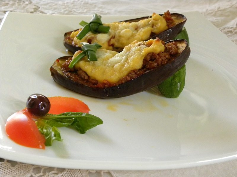 Stuffed eggplants (Papoutsakia) shaped into shoes image