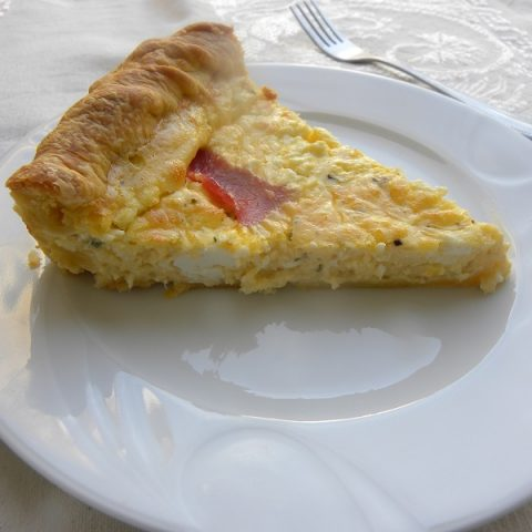 Graviera, feta and bacon quiche image