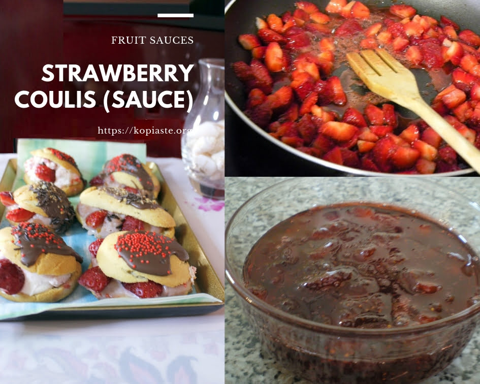 collage strawberries sauce image