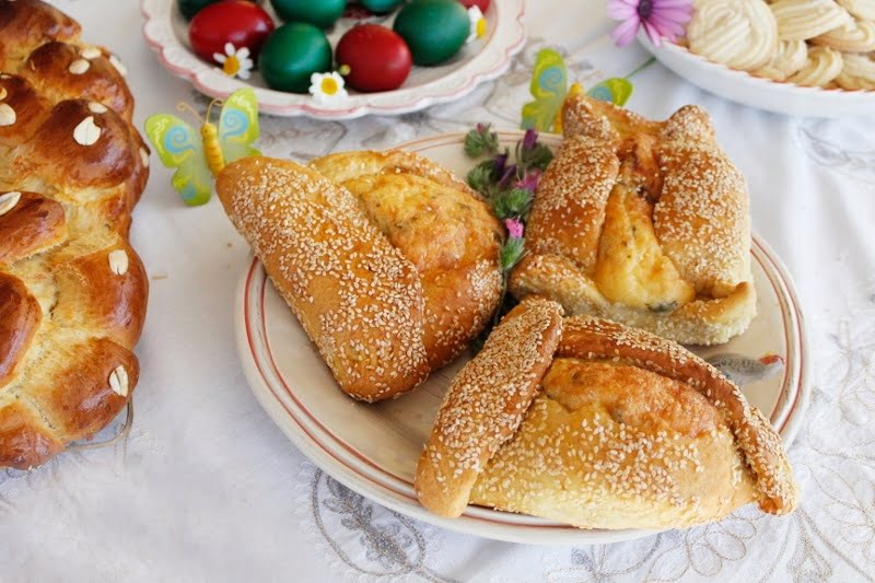 Easter Flaounes (Cypriot Cheese filled Bread)
