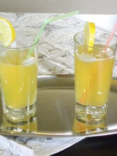 Two glasses of Lemonade in a tray image