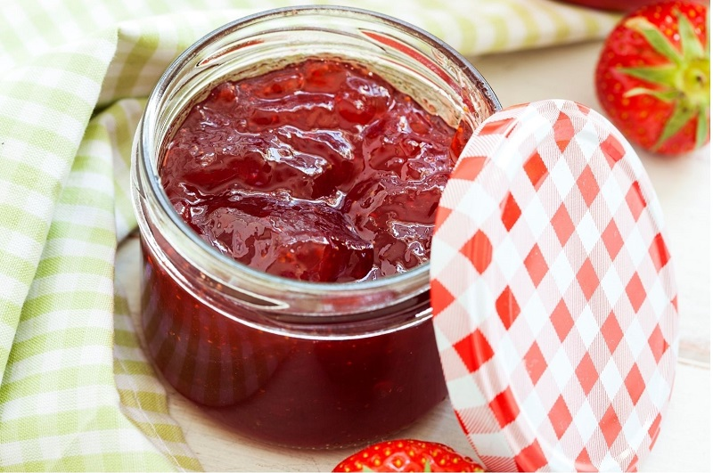 strawberry jam in a jar image