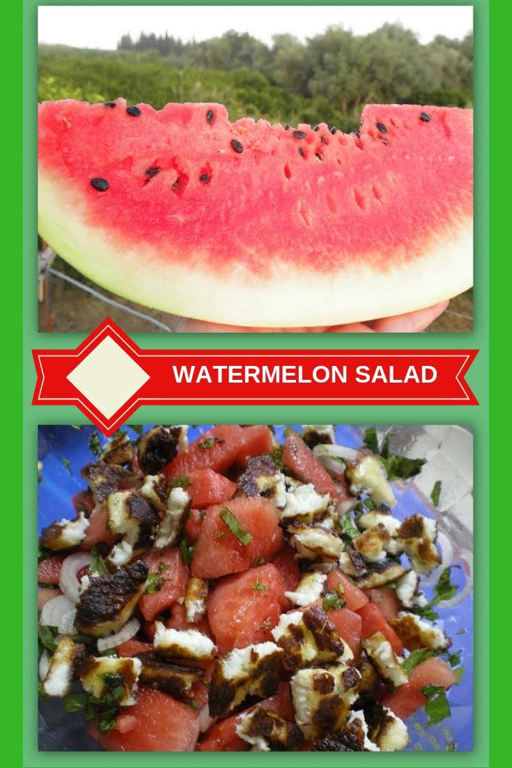 collage Watermelon and halloumi salad image