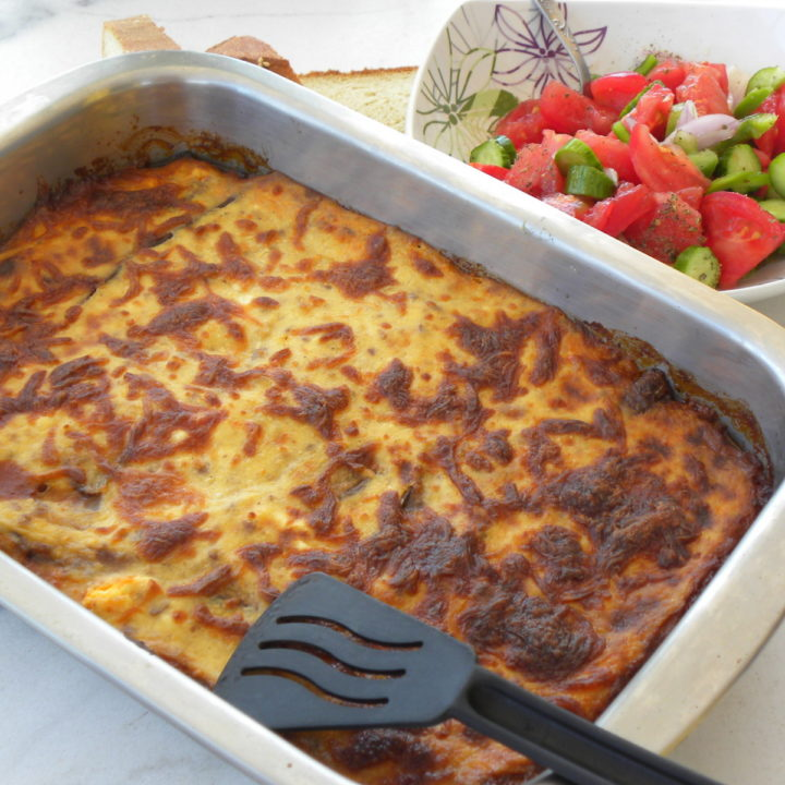 pastitsio with Greek salad image