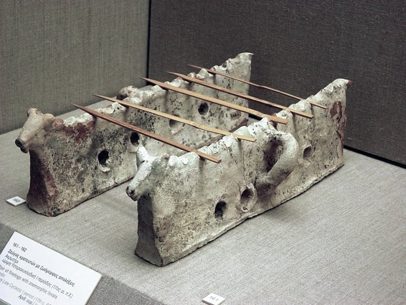 Akrotiri terracotta firedogs - 17th century bC image