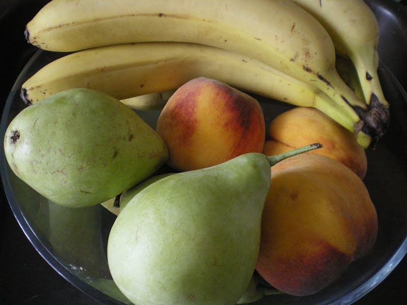 Bananas, pears and peaches image