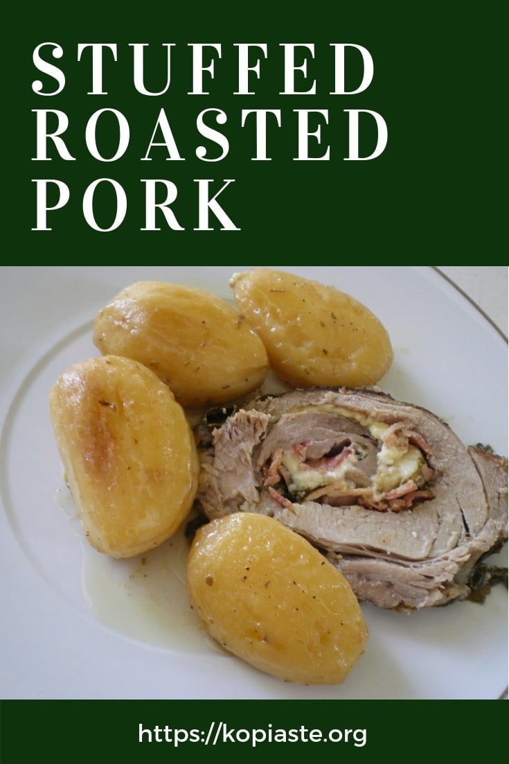 Collage PORK roast with vine leaves image