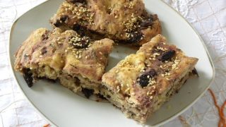 Focaccia style Lagana with Olives and Sun-dried Tomatoes