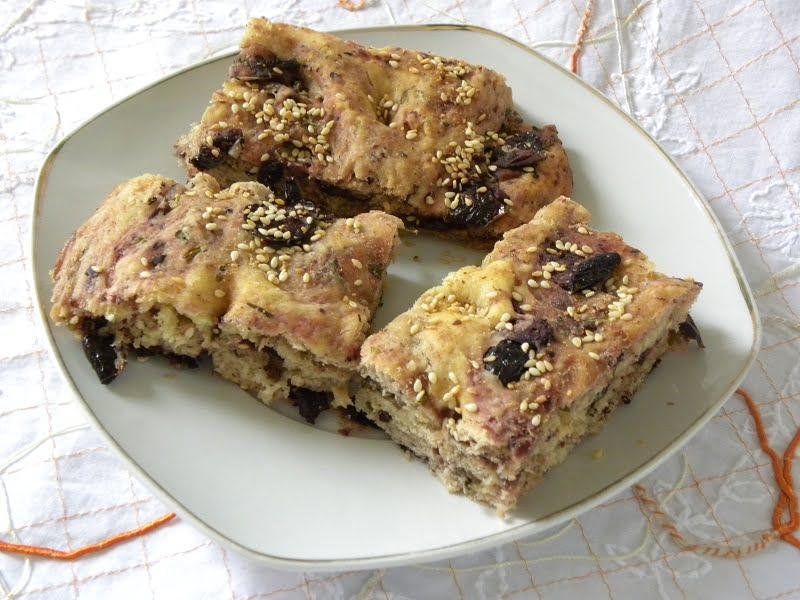 Focaccia lagana with olives and rosemary image