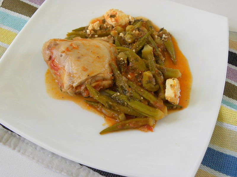 Kotopoulo me Mpamies (Chicken and Okra Stew with Feta)