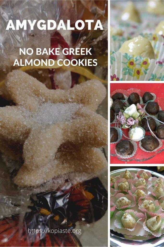 Collage Amygdalota no bake Greek Almond cookies image