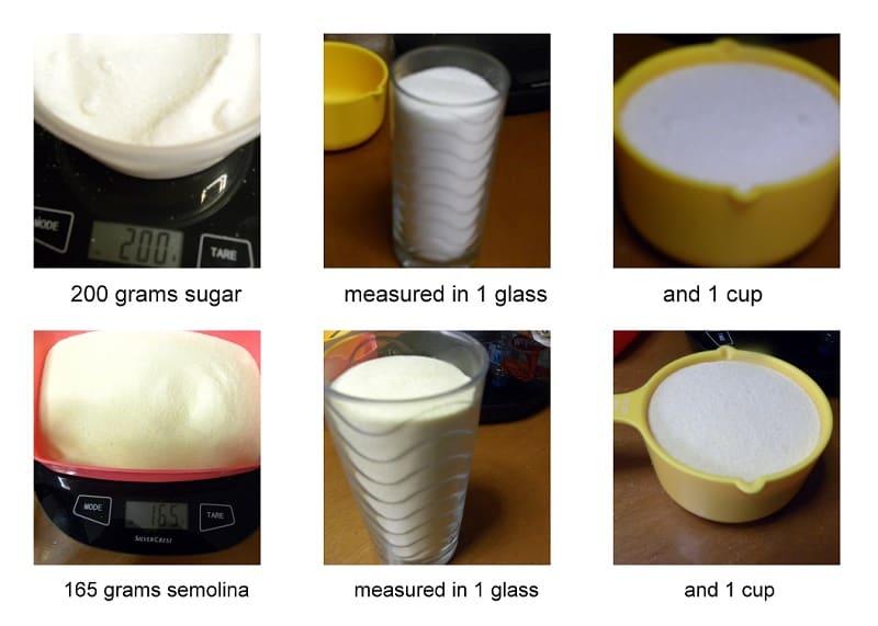 Sugar and semolina measurements image