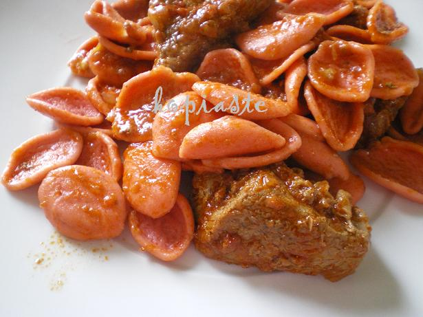 ... pasta for this dish which is a tomato based rose petal shaped pasta