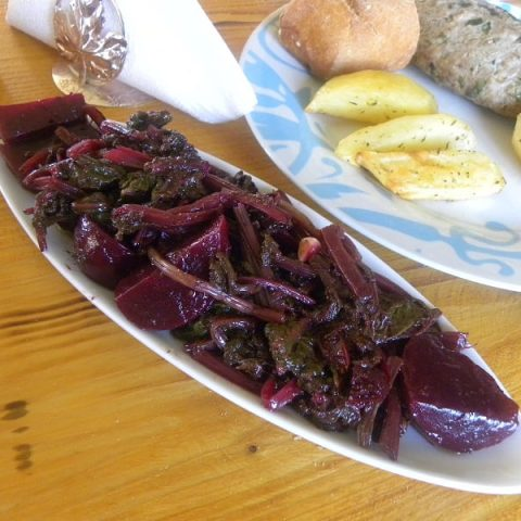 Beet salad with leaves image