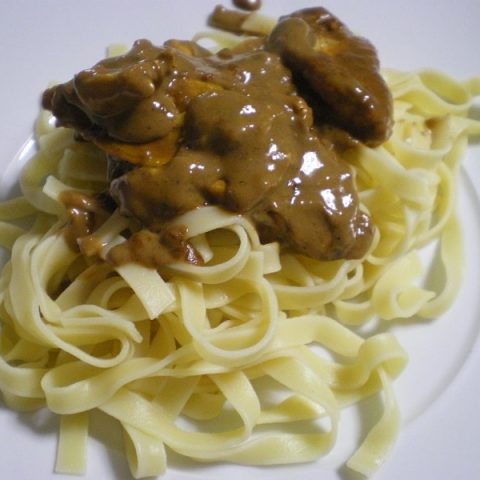Fettuccine with chicken and chocolaty, mastic gum sauce