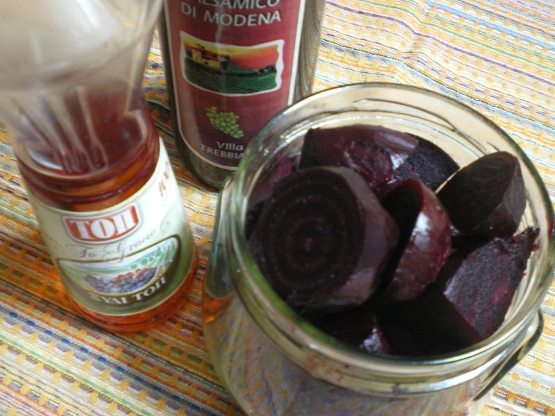 Pantzaria xydata (Beets Preserved in vinegar) and Beetroot Salad with leaves