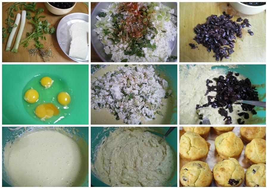 Collage preparing Kalamata olive and feta muffins image