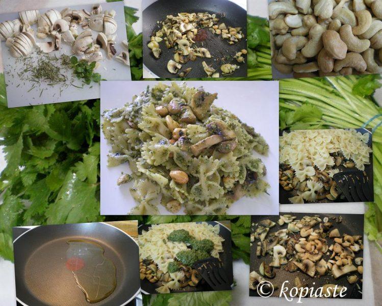 collage farfalle with cilantro preparation image