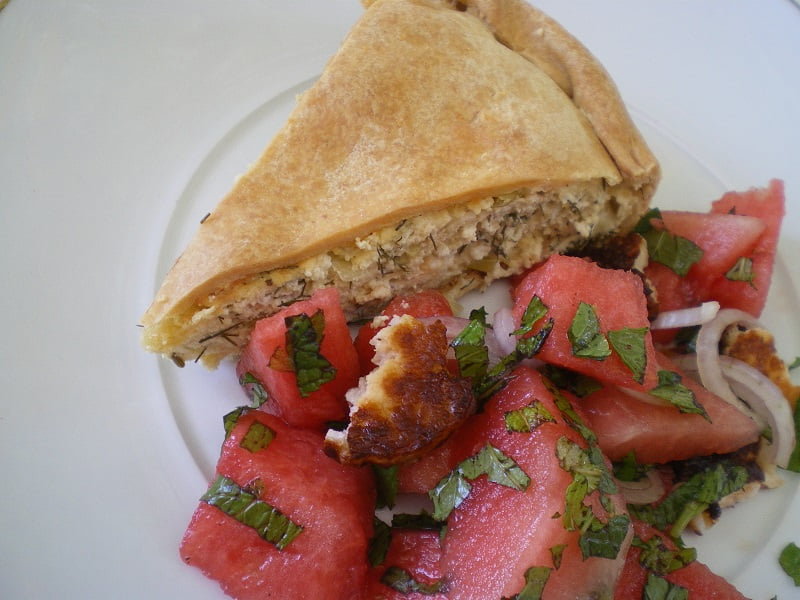 watermelon salad and tyropita image