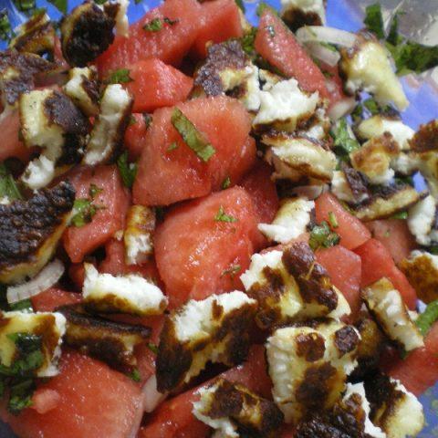 watermelon salad with baked halloumi image