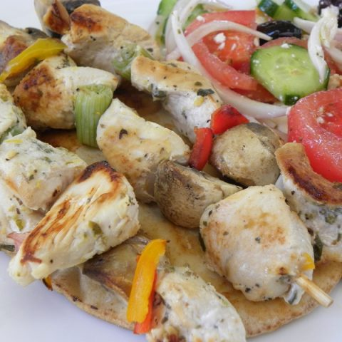Chicken souvlaki with vegetables image