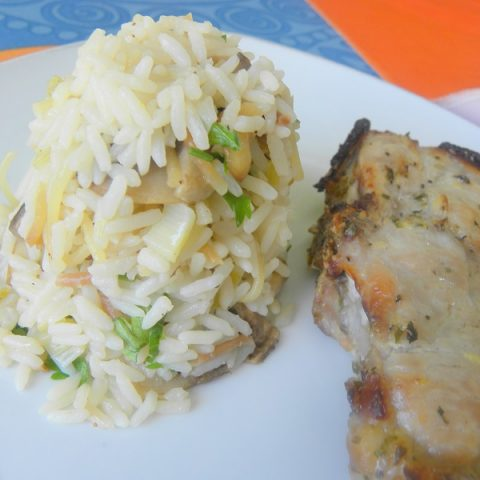 Rice pilaf with pork chop image